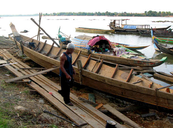 Boat Repair on the Cambodian Mekong
