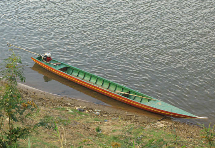 Cambodian River Needle Canoe, Steung Treng, Cambodia