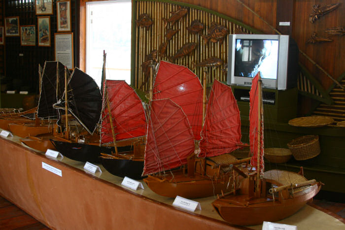 A row of model sailboats from Halong Bay, Vietnam