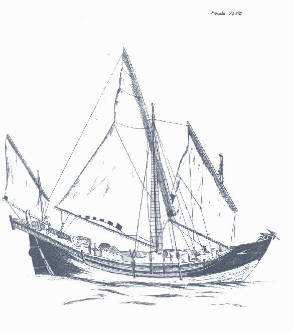 Sketch of sailing freighter