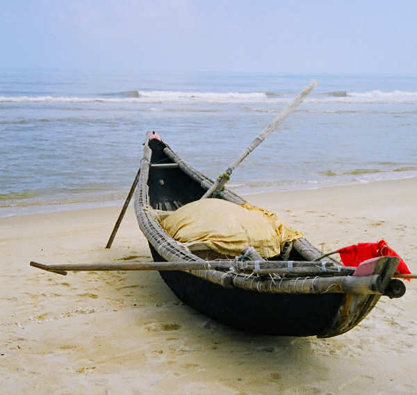 Small Surf Boat of Woven Bamboo