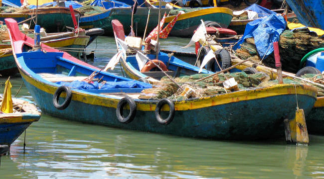 Larger Fiberglassed Woven Bamboo Boats in La Gi, Vietnam