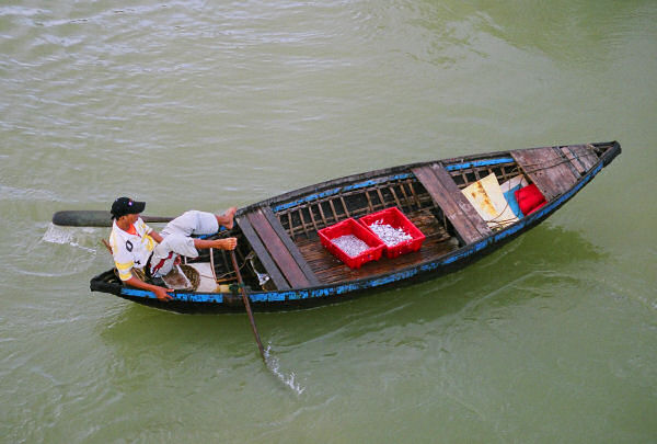 Woven Bamboo Basket Boat Powered by Foot