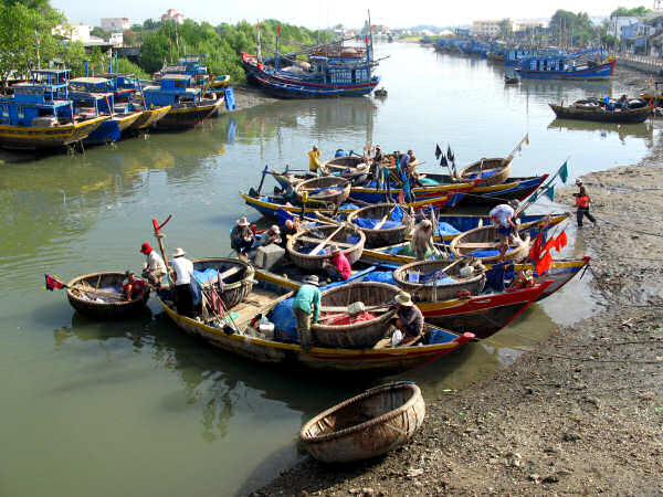 Traditional Boats in Phan Thiet, Vietnam