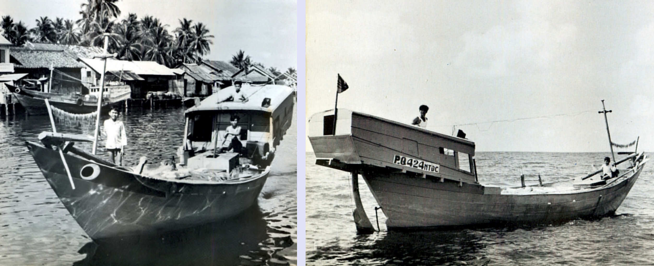 Bow and stern views of 1960 era Phu Quoc Island boat with dramatically cantilevered cabin.