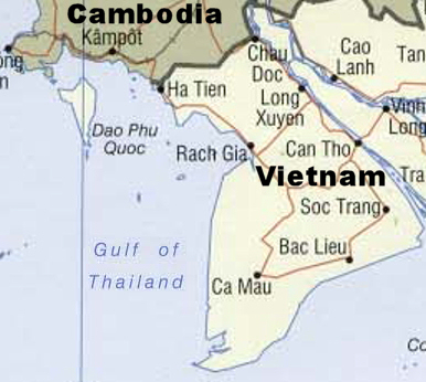 Map of South Gulf Coast showing Phu Quoc Island, Vietnam