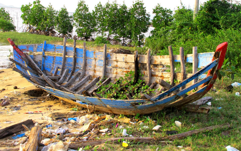Derelict boat hull on the beach north of Quy Nhon