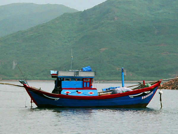 Traditional Quy Nhon Boat with Eyes and Tailfeathers