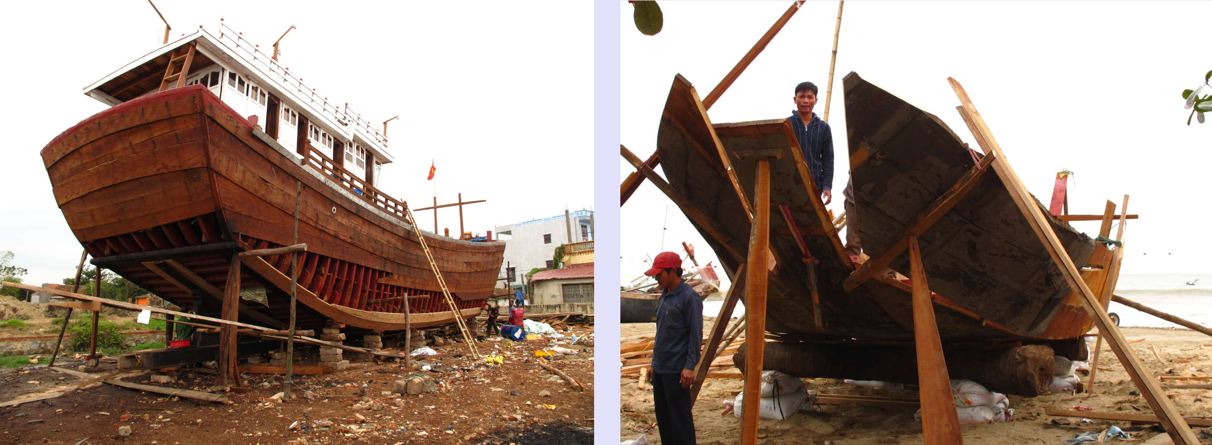 Modern Motor Fishing Vessel and Motorized Ghe Manh, both in construction phase.