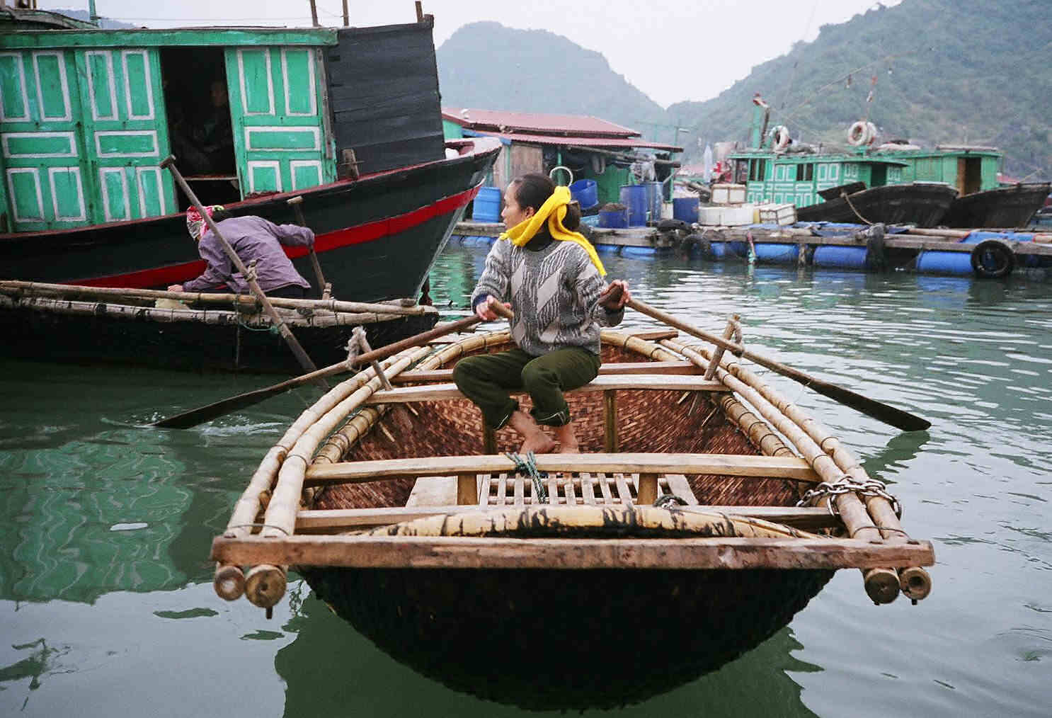 Typical Small Halong Bay Basket Boat