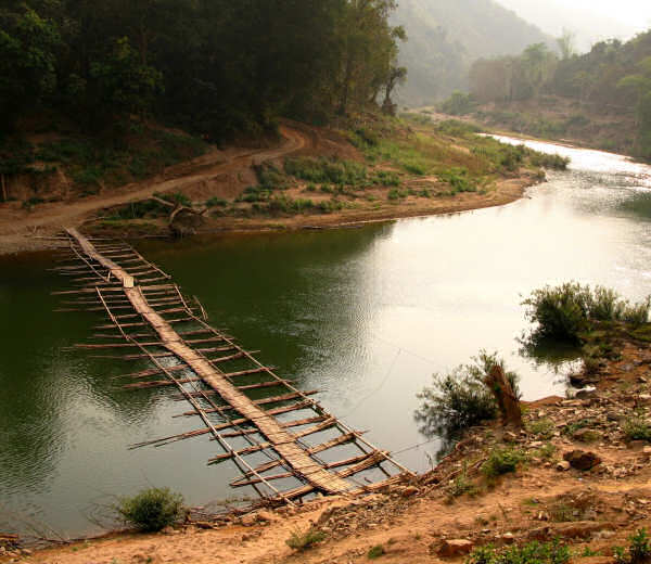 Raft Bridge in Laos: Ou River